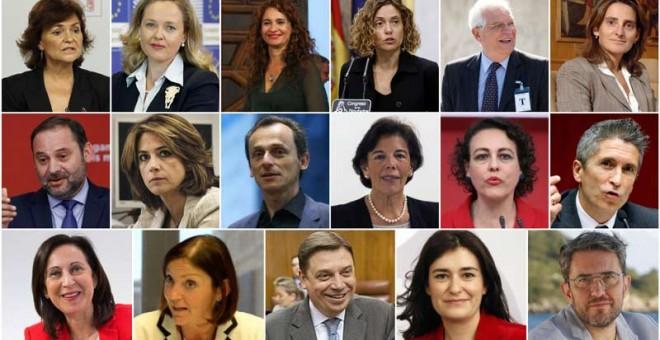 Los nuevos ministros de Pedro Sánchez.