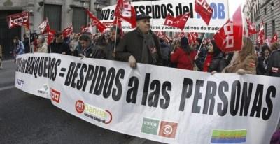 Manifestación de empleados de banca contra los despidos en el sector. EFE