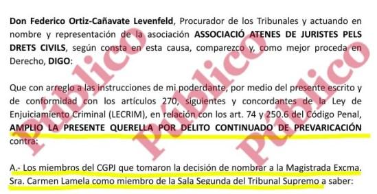 Encabezado de la ampliación de la querella de la Asociación Atenas de Juristas contra todo el Consejo General del Poder Judicial.
