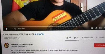 Difusión de Falangismo Youtube del vídeo de la Canción contra Pedro Sánchez.