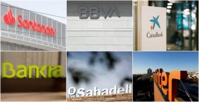 Logos de los seis grandes bancos del Ibex 35: Banco Santander, BBVA, Caixabank, Bankia, Banco Sabadell, y Bankinter. REUTERS/EFE