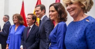 Botella, Almeida, Casado, Ayuso y Aguirre en la sesión de investidura del Ayuntamiento de Madrid. / Ricardo Rubio (Europa Press)