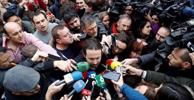 Resultado de imagen de El secretario general de Podemos, Pablo Iglesias, participó este jueves en una conferencia