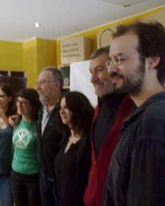 Jorge Luis Bail junto a candidatos aragoneses de Podemos.