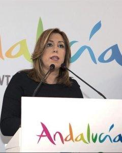 La presidenta de la Junta de Andalucía, Susana Díaz, durante su intervención en la Feria Internacional del Turismo en Londres. / EFE