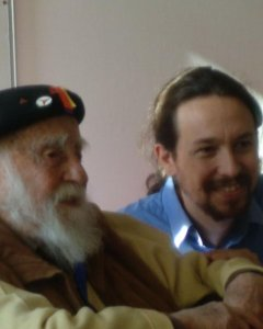 Virgilio Fernández junto al líder de Podemos, Pablo Iglesias