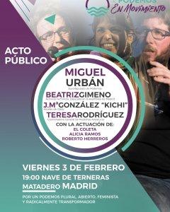 Cartel del acto central de Anticapitalistas en Madrid.
