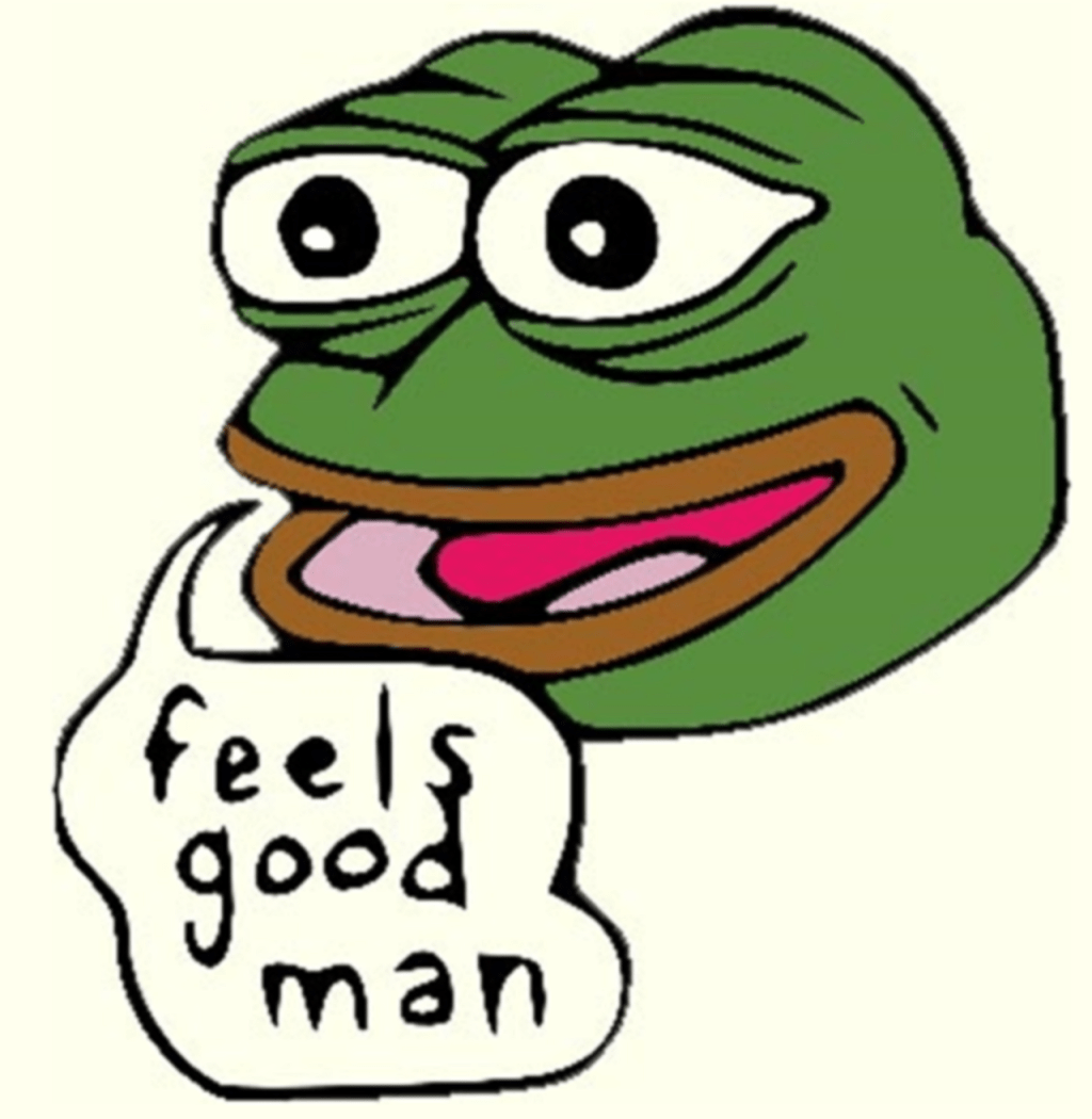 Feels good man: Know Your Meme entry on this particular Pepe meme http://knowyourmeme.com/memes/feels-good-man