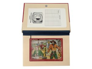 inside of Robbers Roost Hollow Book Safe with vintage ball-in-hole dexterity game