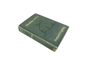 outside of Rudyard Kipling Stalky and Company Hollow Book Safe with vintage boatswain whistle