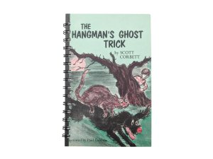 front of the hangman's ghost trick notebook made from a vintage book