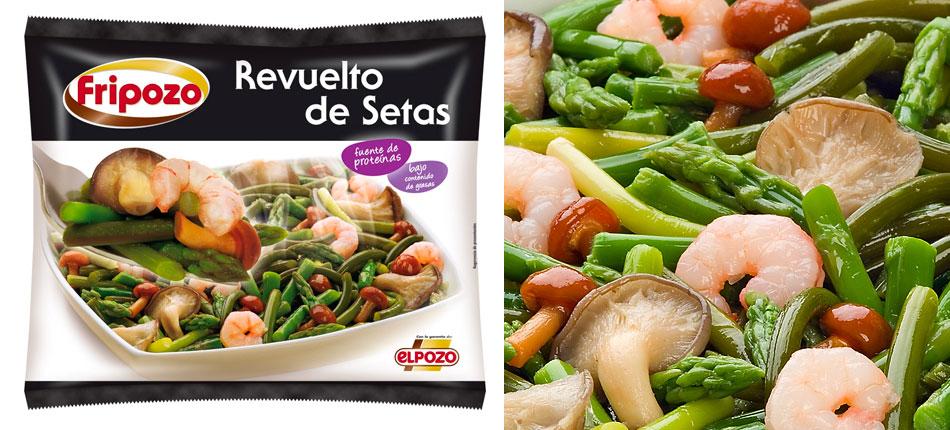 Realización de fotografía de plato Revuelto de Setas para la imagen de la línea de alimentos congelados Fripozo.