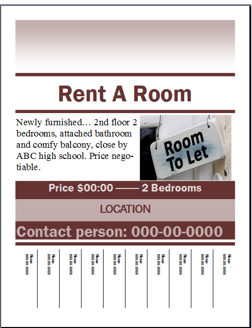 Rent A Room Flyer Template Publisher Flyer Templates - For lease flyer template