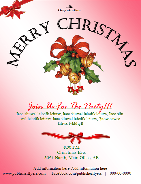 Christmas Party Invitation Flyer Template Publisher Flyer Templates – Publisher Templates Christmas