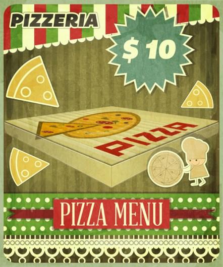 Vintage card Menu for Pizzeria - vector illustration