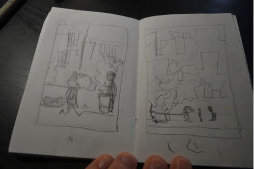 Illustration 1: In my original thumbnails, these two pages appeared consecutively, but while penciling, I inserted a page between them with text to affect the pacing and momentum of the scene.