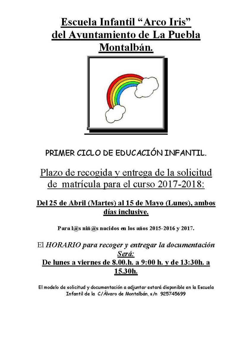 Matriculaci n curso 2017 2018 escuela infantil arco iris - Oficina virtual inem ...