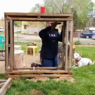 Joseph building the wood stacker