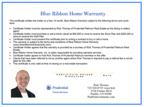 Free Home Warranty With The Purchase Or Sale Of A Pueblo Home