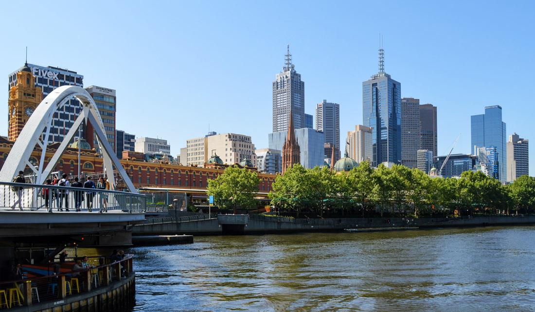 Melbourne, vista desde el lateral del río Yarra