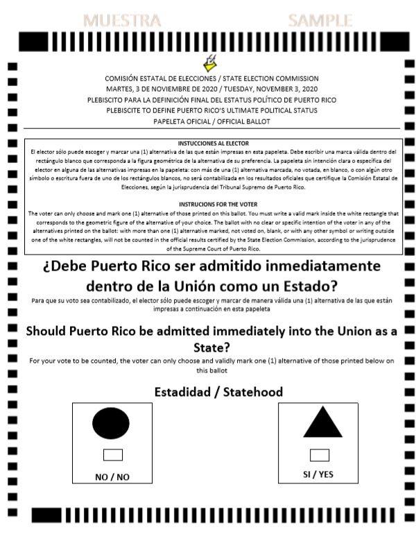 Puerto Rico 2020 plebiscite ballot