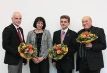 Professoren v.li.: Dr. Volker Zerbe, Dr. Kerstin Wydra, Dr. Frank Bohlander, Dr. Ronald Lutz. Zum kompletten Präsidium gehört auch Kanzlerin Dr. Heike Klemme. (Foto: R. Hahn)