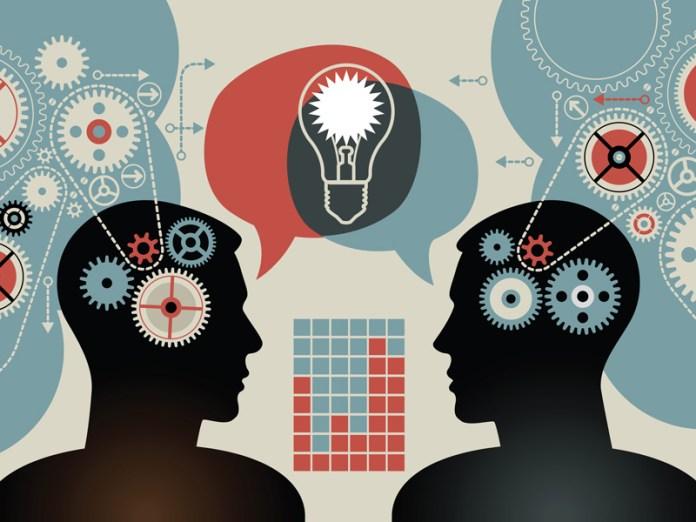 Illustration Forschung, Denkprozesse, zwei Menschen im Dialog