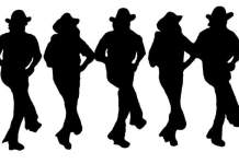 eine Schwarz-Weiß-Zeichnung von fünf Country- und Linedancern