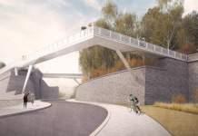 Zwischen zwei Festungsmauern verbindende Brücke