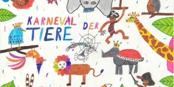 Eine Kinderzeichnung mit vielem bunten Tieren