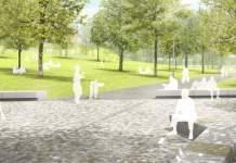 eine Visualisierung zeigt eine Platzfläche am Beginn einer Parkanlage