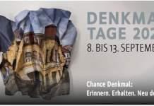 ein zerknülltes Blatt Papier mit dem Foto des ehemaligen Schauspielhauses ist das diesjährige Plakatmotiv der Denkm