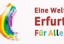 """eine regenbogenförmige Grafik mit dem Schriftzu """"Eine Welt - Erfurt für alle"""""""