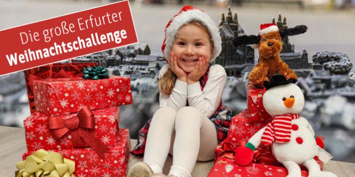 Kind mit Geschenken und Text: Die große Erfurter Weihnachtschallenge