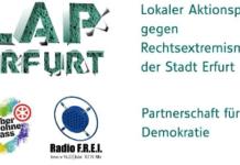 Ein Logo mit der Aufschrift LAP Erfurt - Lokaler Aktionsplan gegen Rechtsextremismus der Stadt Erfurt