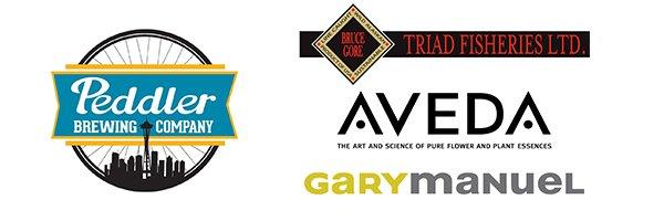 Logos for Peddler Brewing, Triad Fisheries, Gary Manuel Salon and AVEDA