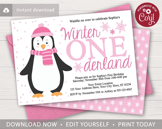 Penguin Birthday Invitation In Pink For A Winter Onederland Party Puggy Prints