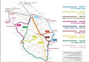 Mappa delle linee bus per muoversi in Salento in autobus