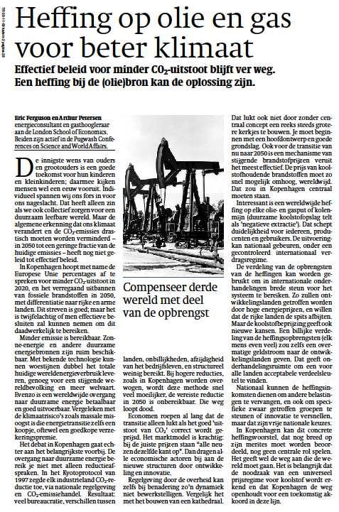Een beter klimaat door heffingen op fossiele brandstof? Arthur Petersen en Eric Ferguson schreven erover in Trouw.