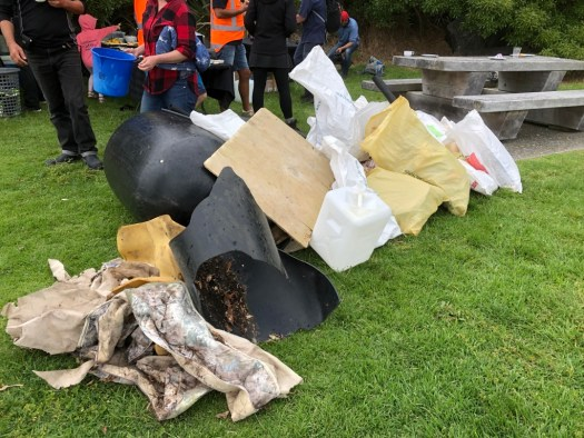 Photo of some bags of rubbish, including large plastic items