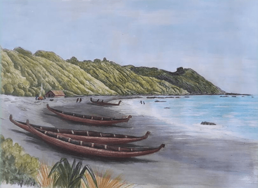 Painting: waka on the beach, Pukerua Bay