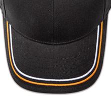 Pukka hat, visor stitching, 8 rows, 2 thick satin stitch, 2 color