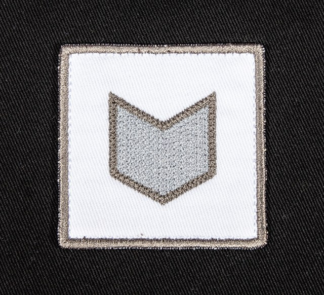 Pukka hat patch embellishment flat embroidery with textured pearl fill stitch