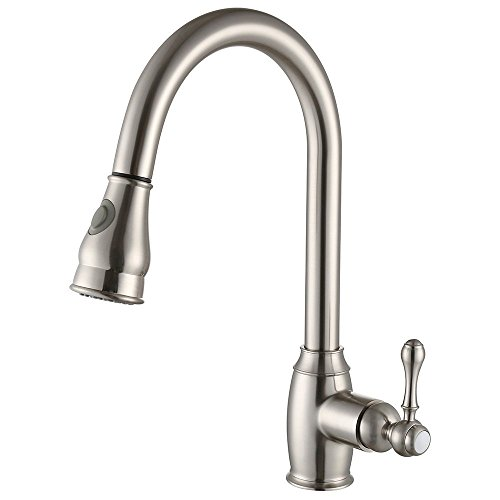 Kitchen Faucet Commercial Pull Down Kitchen Bronze Faucet 360 Degree Swivel  High Arc Spout Single Handle