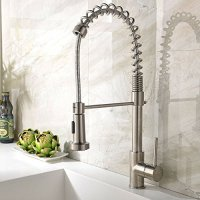 Ufaucet Best Single Handle Brushed Nickel Pull Out High Arch Prep Sprayer Kitchen Sink Faucet, Commercial Pull Down Kitchen Faucets