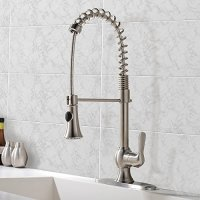VCCUCINE Best Commercial Stainless Steel Brushed Nickel Single Handle Pull Out Sprayer Kitchen Faucet, Pull Down Spring Bar Sink Faucets