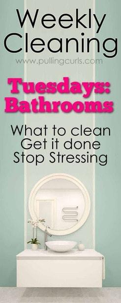 clean bathroom | weekly cleaning | printable | toilets | tile | grout | Organization via @pullingcurls
