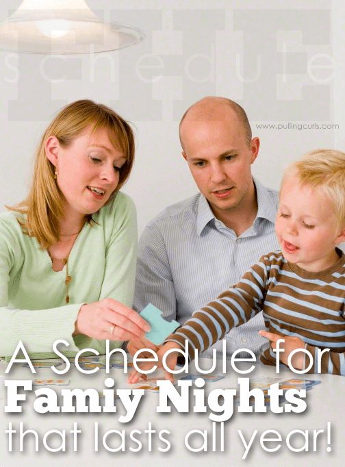 Check out this great Family activity night schedule that will last all year. A whole year of teaching your kids great values!