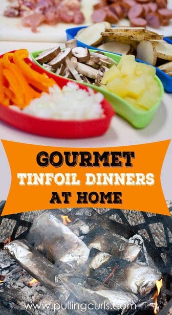 Tin foil dinners don't have to be cooked at your campsite.  Make it a special dinner occasion and packing them full of sauce and veggies, creating a dinner tailor made to each member of your family that's both delicious and healthy! via @pullingcurls