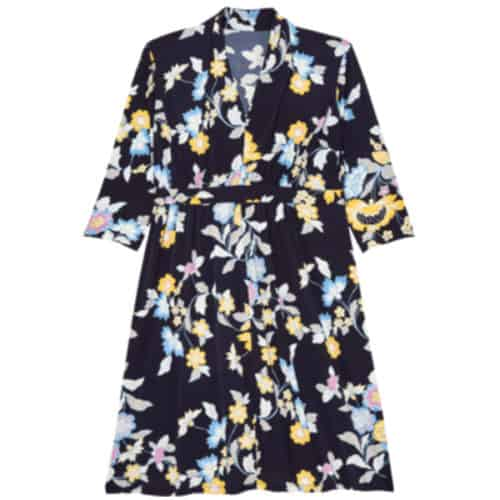 Sabrina Collective August 3/4 sleeve fit and flare dress with shawl neck